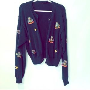 Vintage 90's LizSport patches cardigan anchor star
